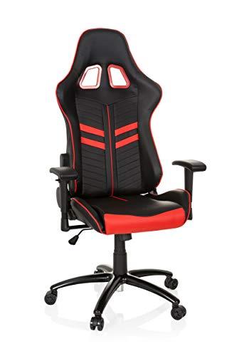 hjh OFFICE Racing-Stuhl LEAGUE PRO mit Armlehnen, ergonomischer Sportsitz, Kopfstütze, Höhenverstellbar, Zocker-Sessel, 729240 (schwarz rot, Kunstleder)