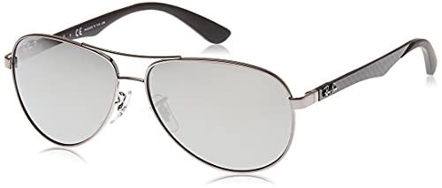 Ray-Ban Carbon Fibre Gafas de sol, Aviador, Polarizadas, 58, Gris (configuración: bronce, lentes: espejo polarizado azul 004 / K6)