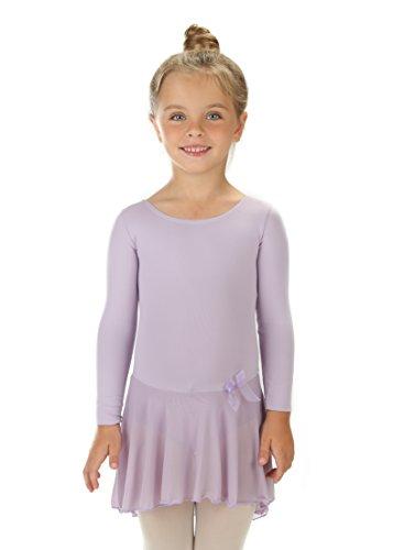 Elowel Girls' Ruffle Long Sleeve Skirted Leotard Lavender (size-2-4)