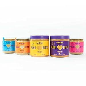 Crema de frutos secos tostados Pack 5 sabores nut&me | Crema de Cacahuete - Crema de Avellanas - Crema de Almendras - Crema de Anacardos | 100% Natural | Sin Azúcares añadidos, sin Gluten, Vegano