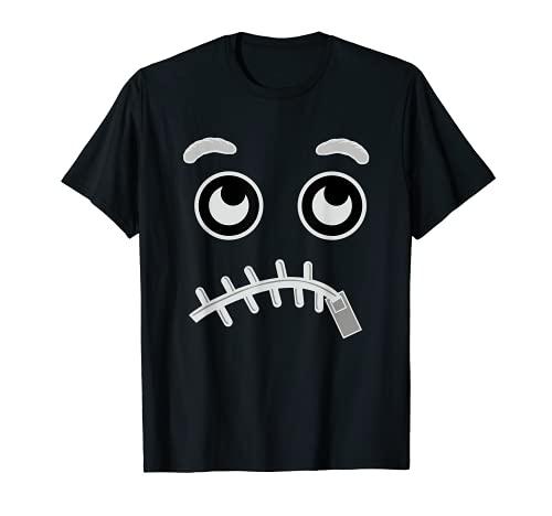 Halloween Emojis Disfraz Emoticon Cremallera Boca Cara Perezosa Camiseta
