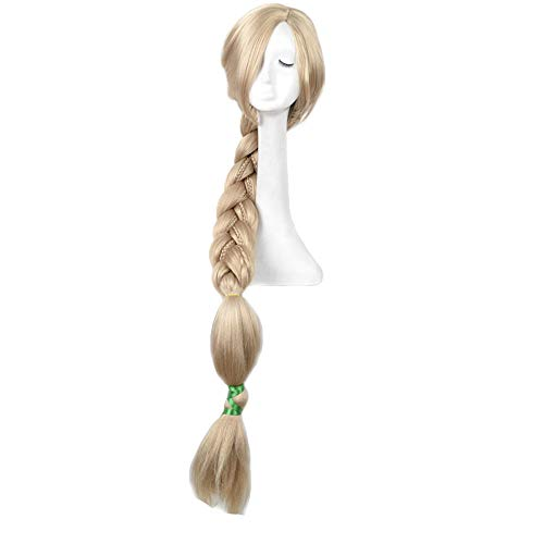 Yuehong 47 inch Long Blonde Anime Cosplay Costume Weaving Braid Hair Wigs Synthetic Wig