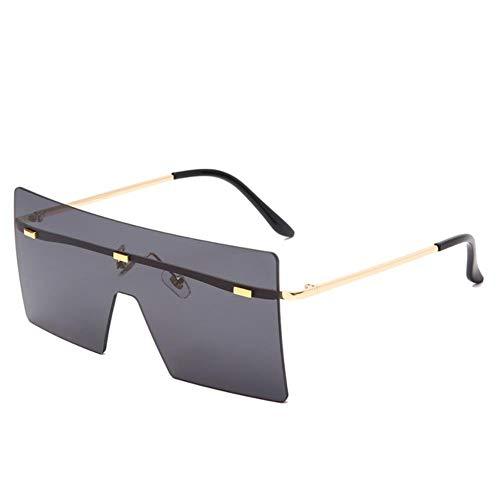 UKKD Gafas de sol Gafas De Sol Sin Montura De Gran Tamaño Moda Mujer Metal Gafas Degradados De Lujo Lady Sunglass Gafas Uv400 Shades-01E