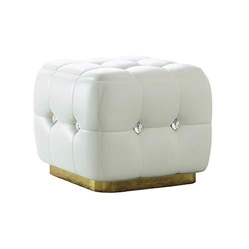 YXDEW Los domésticos Cristal Tire Diamante Cuadrado de heces Zapatos de Cuero de Bench marrón (Color : White)