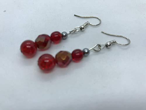 Red beaded earrings by Susan Craker