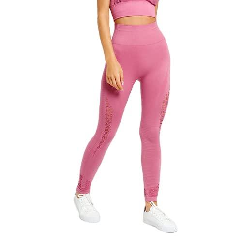 Pantalones de Yoga de Levantamiento de Cadera de Cintura Alta para Mujer Medias sin Costuras de energía Push-ups Pantalones Deportivos de Entrenamiento de Cadera C L