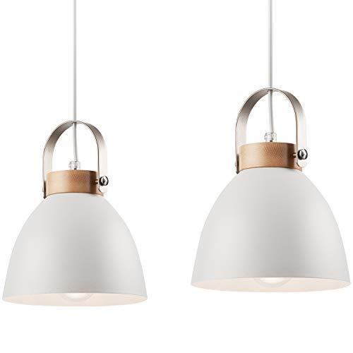 JVS Pendel-Leuchte Decken-Leuchte aus Metall E27 Hänge-Leuchte Vintage Industrieleuchte Wohnzimmerlampe Modern Wohnzimmer mit Kabel Vintagelampe für Wohnzimmer/Küche/Büro/Praxis (Weiss, 2-flammig)