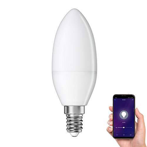 ledscom.de Smarte E14 LED Kerze, Lampe für Amazon Alexa & Google Home, dimmbar 4W =32W 350lm 300° warm-weiß