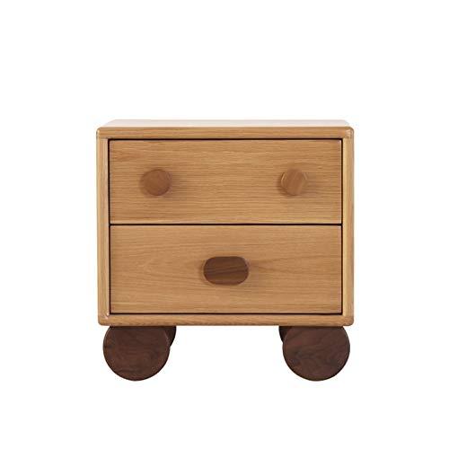 ZHUSHI Nordic Massivholz Kinder Nachttisch Cartoon Regal Jungen Und Mädchen Nachttisch Einfache Schlafzimmer Lagerschrank (Color : White Oak, Size : A)
