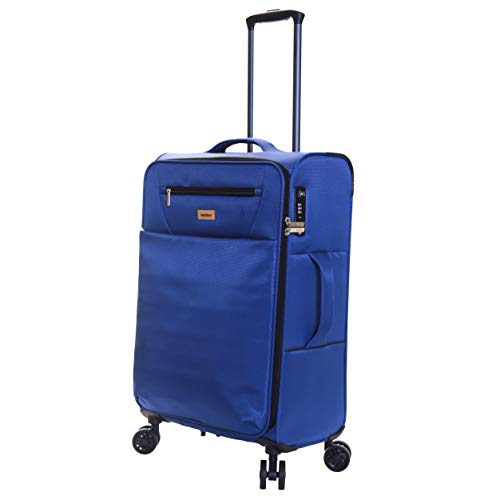 Karabar Medium Large Suitcase Luggage Bag Ultra Lightweight 66 cm 2.2 kg 60 litres Soft Shell with 4 Spinner Wheels and Integrated TSA Number Lock, Piccadilly Blue