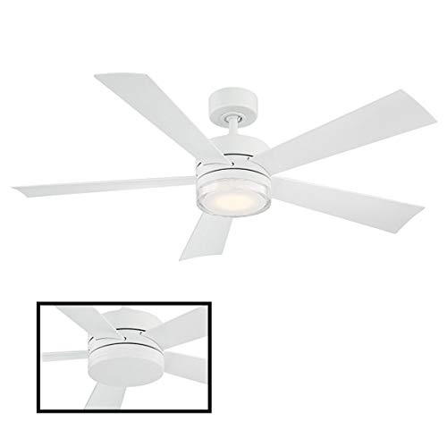 Wynd Indoor/Outdoor 5-Blade Smart Ceiling Fan 52in Matte White with 3000K LED Light Kit and Wall Control works with iOS/Android, Alexa, Google Assistant, Samsung SmartThings, and Ecobee