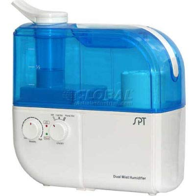 Sunpentown SPT Dual Mist Humidifier W/ION Exchange Filter, Up To 500 Sq. Ft, 4L Tank, BL/WH