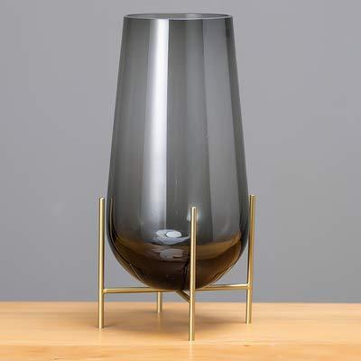 Vase auf Stand, Glasvase mit Gestell Blumenvase Tischvase auf Ständer Glasgefäß auf Metallgestell H46/34/29cm (GRAU, L)