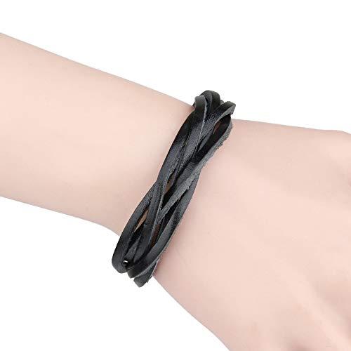 TSP Pulsera de cuero negro y marrón para hombre, pulsera de cuerda multicapa, pulsera de mano para hombre, cuerda trenzada, pulsera para hombre y mujer, joyería para mujer (color de metal: negro)