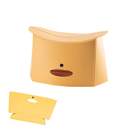 N\O Yemiany Taburete Plegable de plástico Multifuncional Silla de plástico Engrosada Taburete portátil Plegable para Acampar en casa Viajes Senderismo,Pesca,Picnic,Cola (Amarillo,32.5X18X18.5C