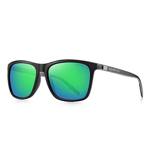 MERRY'S Polarized Sunglasses for Women Aluminum Men's Sunglasses Driving Rectangular Sun Glasses for Men/Women (Green Mirror, 56)