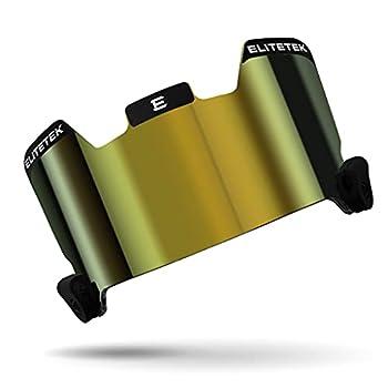 EliteTek Football Facemask Visor - Color Tinted Eye-Shield for Football Helmet - Black Gold