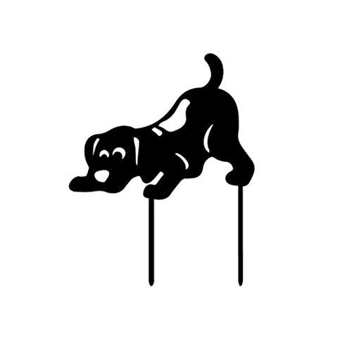 Estatuas de jardín para perro, color negro, silueta de jardín al aire libre, para decoración de jardín y decoración de césped, reutilizable, impermeable y resistente, para los aceros de la Corte