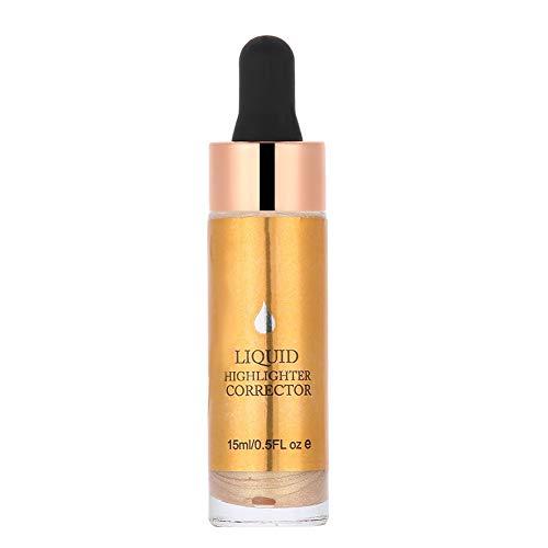 Aceite iluminador de con purpurina Líquido Resaltador Caída Maquillaje Brillante Contorno blanco Resaltador 3D Impermeable Maquillaje Mejillas faciales iluminadas(4#GOLD)