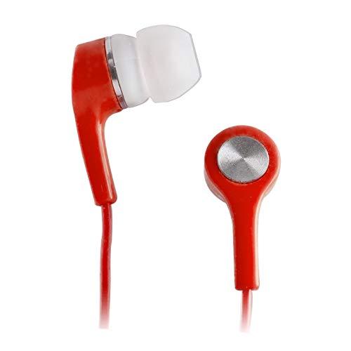 Setty Auriculares universales con micrófono, Conector de Audio de 3,5 mm, Auriculares con Cable sin enredos 1 m de oído portátil Gimnasio y Fitness, Auriculares de música (Rojo)