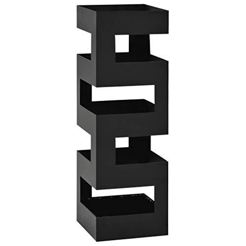 Paragüero cuadrado de metal de 15,5 x 15,5 x 48,5 cm, paragüero Tetris con bandeja recogegotas extraíble, paragüero entrada-blanco