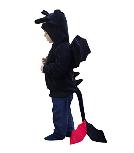ComfyCamper Dragon Costume Hoodie, Animal Play Sweatshirt for Boys Girls, 4-6 Years Black