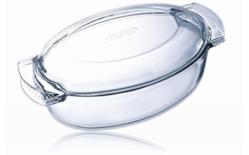 Pyrex 460A000/5043 - Cacerola ovalada de cristal con tapa, Transparente, 4.5L (1040712)