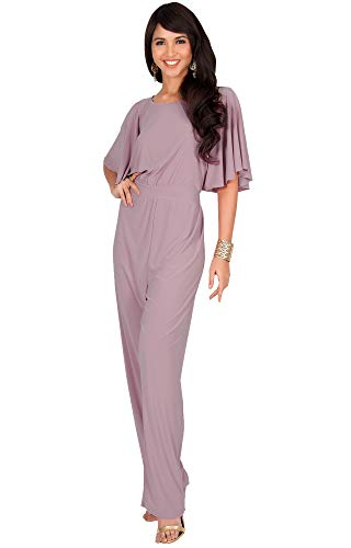 KOH KOH Womens Short Sleeve Wide Leg Long Pant Suit Jumpsuit One Piece Romper