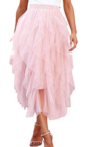 Spec4Y Tüllrock Damen Tutu A-Linie Rock Lang Gaze Elastische Taille Petticoat Rock Einfarbig Rosa Small
