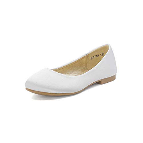 DREAM PAIRS Big Kid Muy White Satin Girl's Mary Jane Ballerina Flat Shoes - 4 M US Big Kid