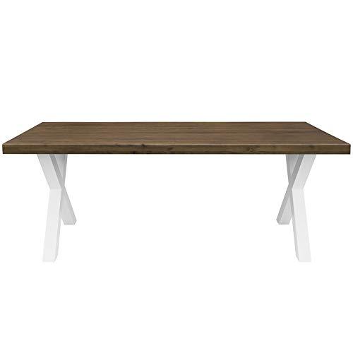Comifort - Tavolo da pranzo – Mobile per soggiorno ufficio – Robusto e moderno in rovere massello colore noce, gambe in acciaio