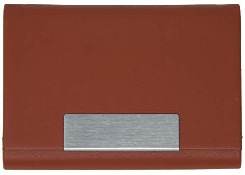 Visitenkartenetui braun - hochwertiges Kunstleder mit Magnetverschluss in gebürstetem Edelstahl, edle Visitenkartenbox im Business-Look von K.DESIGNS