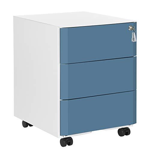 SONGMICS Archivador Móvil, con Cerradura y 3 Cajones, para Oficina, Montaje Premontado, 39 x 46 x 53 cm (Largo x Ancho x Alto), Blanco y Azul OFC73WB