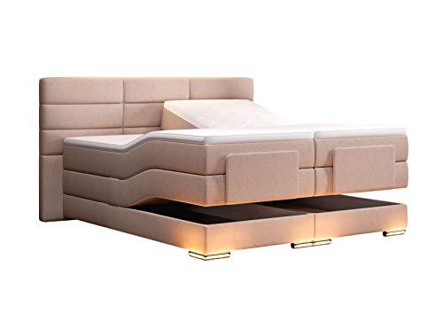 HG Royal Estates GmbH Roma Boxspringbett elektrisch Beige Stoff Größe 180 x 200 cm
