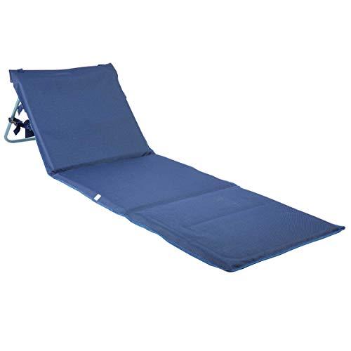 ONVAYA Premium Strandmatte 2cm gepolstert mit Rückenlehne | 1 Stück | Strandliege faltbar | Strandmatratze dunkelblau | Sonnenmatte mit Tragegurt | 161 x 55 x 45 cm