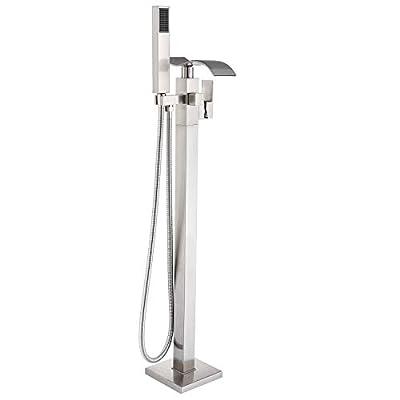 Votamuta Bathroom Waterfall Spout Tub Filler Shower Faucet Floor Mount Brushed Nickel Single Handle Bathtub Shower Tap