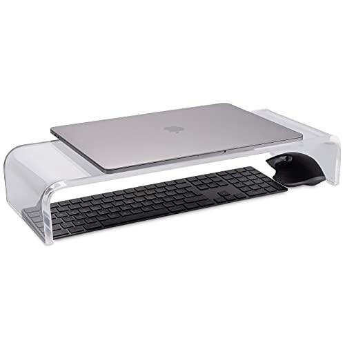 Just Neat I Design Monitorständer Monitor Stand 53x19x9cm aus PLEXIGLAS® I Bildschirmerhöhung Monitortisch geeignet für PC, Laptop, Drucker, Lautsprecher