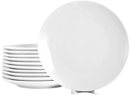 12 Stück Flache Coupteller im Set aus echtem Porzellan Ø 240 mm weiß Teller auch zum Bemalen bestens geeignet Tafelgeschirr für Gastronomie und Haushalt