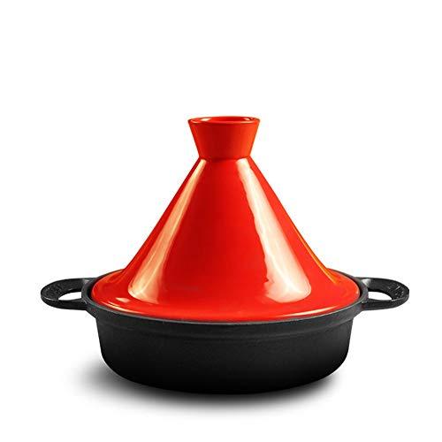 SSQIAN Tajine en Fonte d'origine Marocaine Pot en Terre Cuite Ø 26cm Fait Main éMaillé sans Substances Nocives Convient à Tous Les Types De PoêLes à Induction Et Au Four,Red