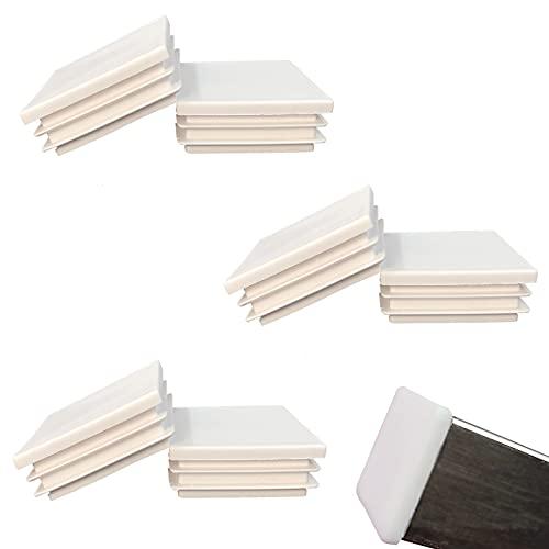 HJYZY 80mm Tappo per Tubo Quadrato bianca Cappucci Terminali Tappi Lamellari per Tubi Quadrati per Tubi di Ferro/Mobili/Trampolino/Sedia 6 pezzi
