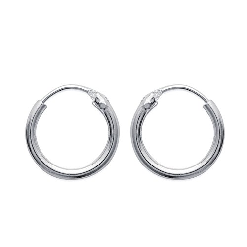 Pendientes de aro de plata 925/000, diámetro de 10 mm, anchura: 1,5mm