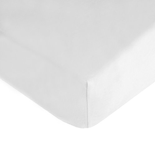 TL Care 100% Cotton Jersey Knit Fitted Crib Sheet for Standard Crib and Toddler Mattresses, White, 28 x 52, for Boys and Girls