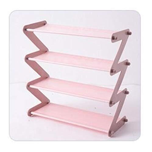 Wlbhb Zapato de Almacenamiento en Rack con el Marco de Acero Inoxidable (Color : Pink, Size : 48X46X18cm)