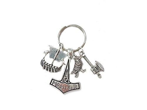 Familienkalender Wikinger Vikings Symbol , Schiff , Axt , Rabe Schlüsselanhänger Metall | Geschenk | Odin | Thor | Valknut | Nordmann