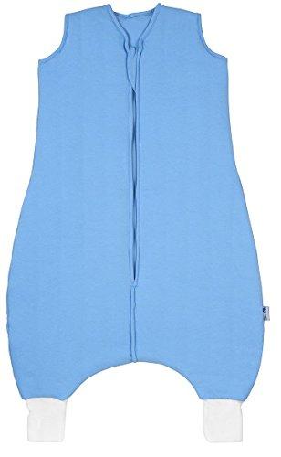 Schlummersack PREMIUM Schlafsack mit Füßen für den Sommer leicht gefüttert in 1.0 Tog - Hellblau - 80cm mit Druckknöpfen an den Beinen für eine Körpergröße von 80-90 cm