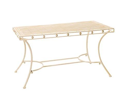 aubaho Nostalgie Gartentisch cremeweiß Eisen Tisch Loungetisch antik Stil Garden Table