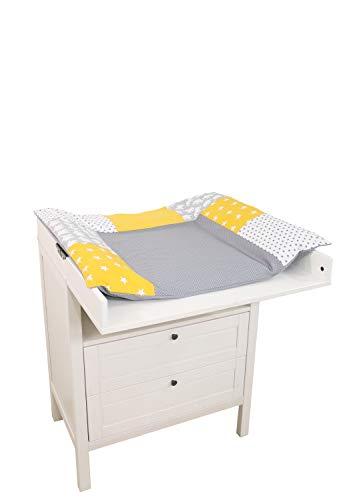 ULLENBOOM ® Wickelauflagenbezug 75x85 cm Elefant Gelb (Made in EU) - Bezug für Wickelauflage, Baby Überzug für Wickelunterlage aus Baumwolle, Wickelbezug für Wickeltisch, Motiv: Sterne, Punkte