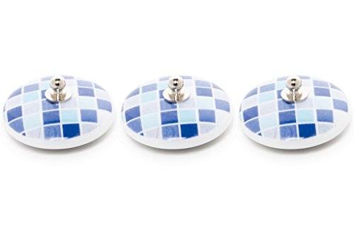 ABC_baño Tapón bañera Lavabo bide Fregadero Porcelana 3 Unidades gresite Azul