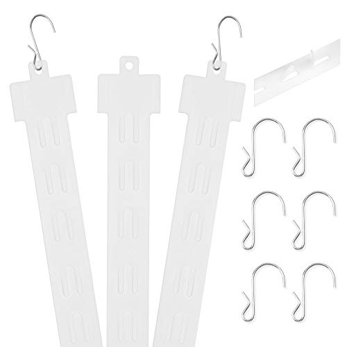 """Pack of 25 - 12 Station Hanging Merchandise Strips with S Hooks, 21"""" Plastic Display Merchandise Strips for Retail Display with Removable Header"""
