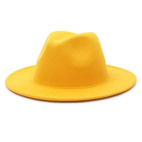 GEMVIE Vintage Panamá Sombrero Hombre Mujer Unisex ala Ancha Fedora Algodón Clásico Jazz Amarillo Circunferencia /56-58cm